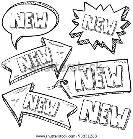 Doodle style new tags, labels, and arrows sketch in vector format - stock vector
