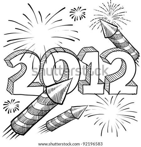 Doodle style 2012 New Year illustration in vector format with fireworks background