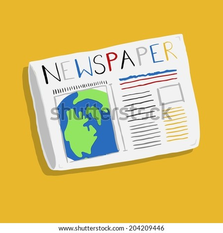 Doodle style newspaper illustration in vector format - stock vector