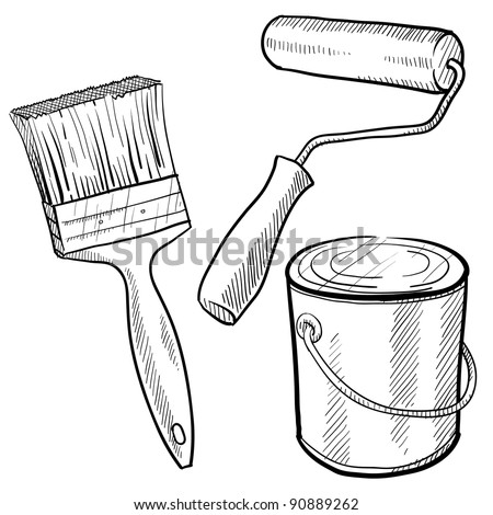 Doodle style painting equipment in vector format including paint can, roller, and brush