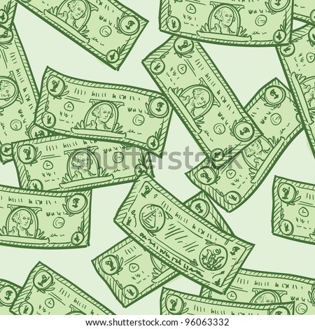 Doodle style paper currency or dollar bill seamless background patter in vector format - stock vector