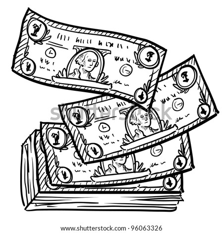 Doodle style paper currency or dollar bills illustration in vector format - stock vector