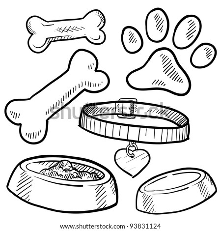 Doodle style pet gear sketch in vector format.  Set includes bones, collar, food and water bowl, and footprint - stock vector
