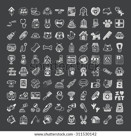 doodle style pet icons - stock vector