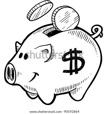 Doodle style piggy bank with dollar sign and coins in vector format - stock vector