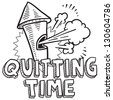 Doodle style quitting time or end of work day illustration in vector format.  Includes text blowing whistle. - stock vector
