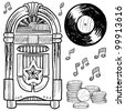 Doodle style retro jukebox with vinyl record, coins, and musical notes - stock vector