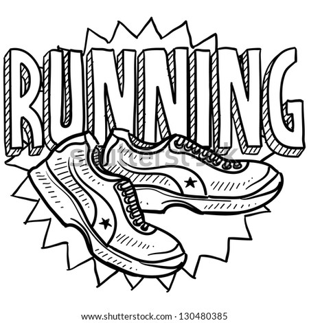 Doodle style running sports illustration.  Includes text and running shoes.