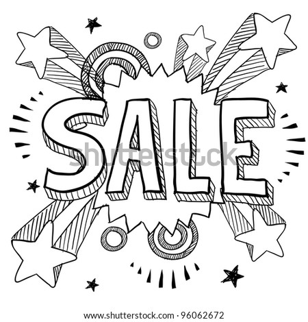 Doodle style sale icon on retro pop explosion background in vector format