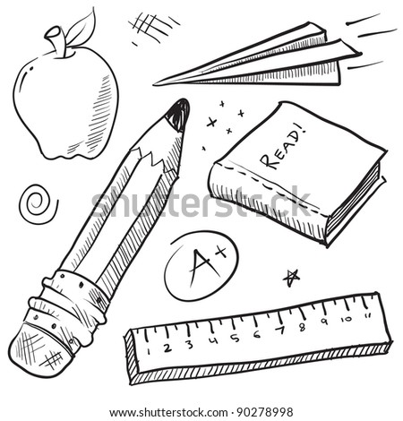 Doodle style school theme vector illustration with pencil, paper airplane, book, ruler, and apple - stock vector