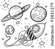 Doodle style science fiction set sketch in vector format.  Set includes retro rocket ship and a variety of cartoon planets - stock vector