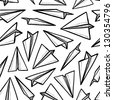 Doodle style seamless paper airplane background illustration in vector format. - stock vector