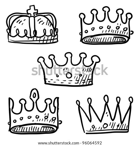 Doodle style set of royal crowns in vector format