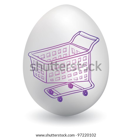 Doodle style shopping cart icon sketch on decorated holiday Easter Egg in vector format - stock vector