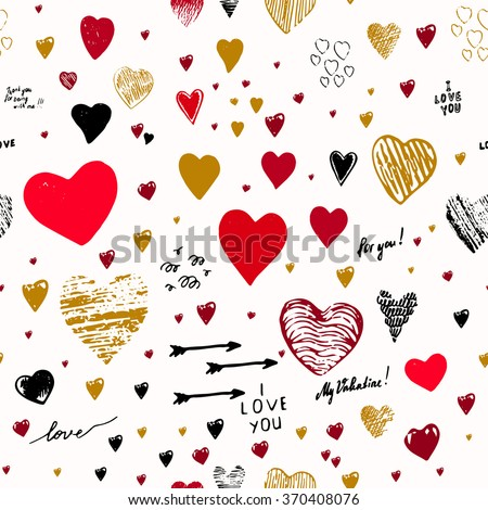 "Doodle style sketch art. Graffiti with hearts and inscriptions: ""happy Valentine's Day"", ""I love you"", ""My Valentine"". - stock vector"