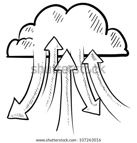 Doodle style sketch data or information flowing into and out of the cloud of in vector illustration. Metaphor for modern data transfer from computers and phones. - stock vector