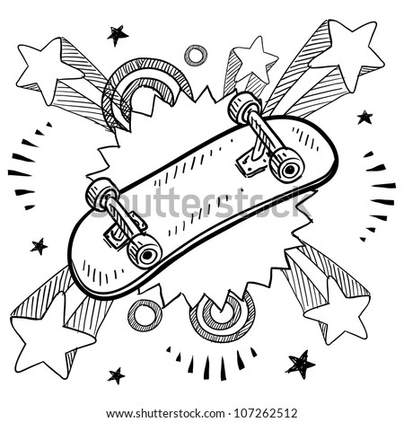 Doodle style sketch of a skateboard with pop explosion background in 1960s or 1970s style in vector illustration. - stock vector