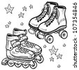 Doodle style sketch of rollerskates and rollerblades in vector illustration. - stock vector