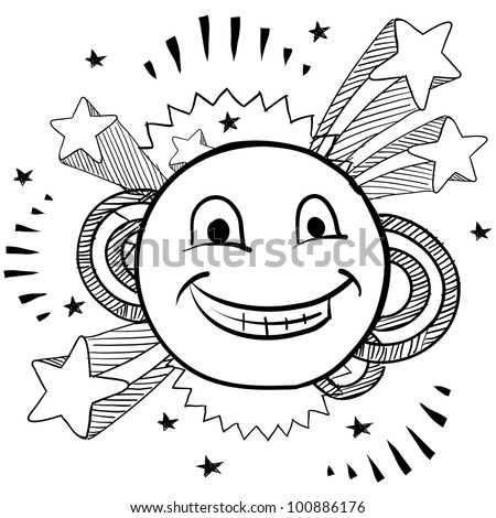 Doodle style smiley face on pop 1970s explosion background illustration in vector format - stock vector