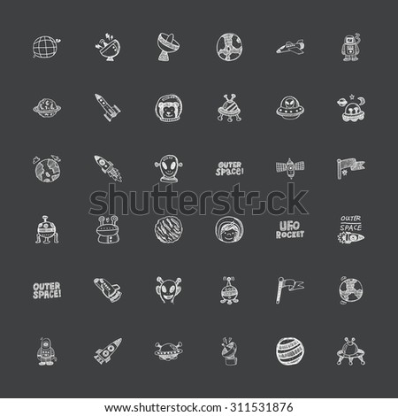 doodle style space icons - stock vector