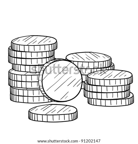 Doodle style stacks of coins and currency illustration in vector format suitable for web, print, or advertising use. - stock vector