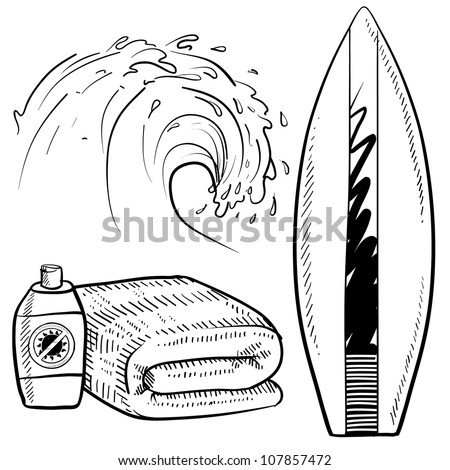 Doodle style surfing gear sketch in vector format. Set includes surfboard, suntan lotion and towel, and cresting wave. - stock vector