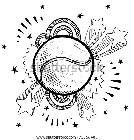 Doodle style tennis ball sports illustration in vector format with retro 1970s pop background - stock vector
