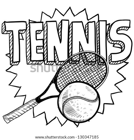 Doodle style tennis illustration in vector format. Includes text, racquet, and ball.