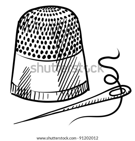 Doodle style thimble and needle illustration in vector format suitable for web, print, or advertising use. - stock vector