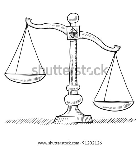 Doodle style tipped or unbalanced scales of justice illustration in vector format suitable for web, print, or advertising use. - stock vector
