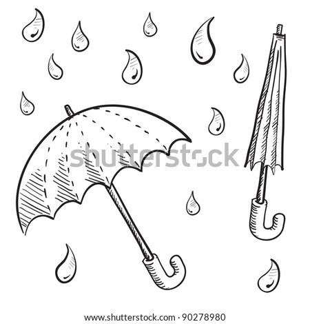 Doodle style umbrellas and rain drop vector illustrations - stock vector