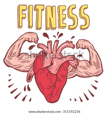 Doodle style vector drawing of a muscular heart announcing fitness with hand drawn text.