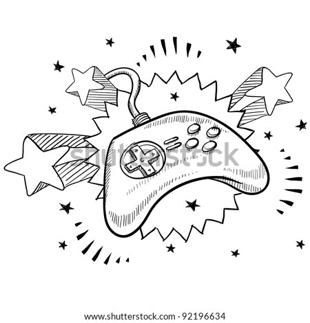 Doodle style video game controller illustration in vector format with retro 1970s pop background - stock vector