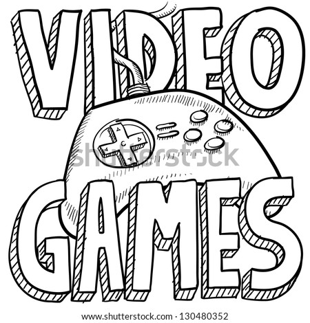 Doodle style video games sports illustration.  Includes text and computer game controller.