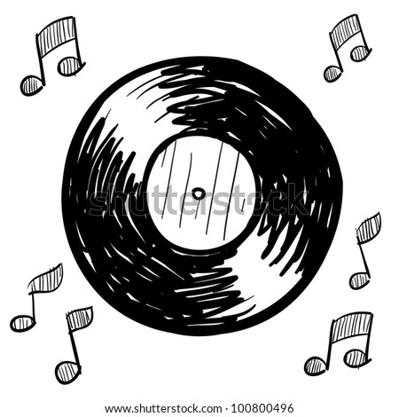Doodle style vinyl record illustration in vector format - stock vector