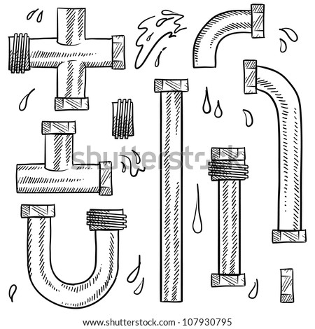 Doodle style water pipes sketch in vector format. Includes various pieces of pipe to make your own design.