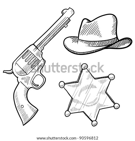 Doodle style wild west cowboy and sheriff objects illustration in vector format including gun, badge and hat