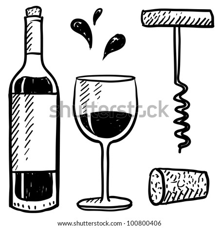 Doodle style wine set illustration in vector format including bottle, glass, corkscrew, and cork.