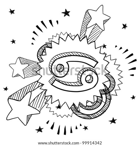 Doodle style zodiac astrology symbol on 1960s or 1970s pop explosion background - Cancer - stock vector