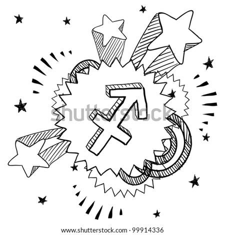Doodle style zodiac astrology symbol on 1960s or 1970s pop explosion background - Sagittarius - stock vector