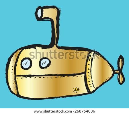 doodle submarine, vector illustration icon - stock vector