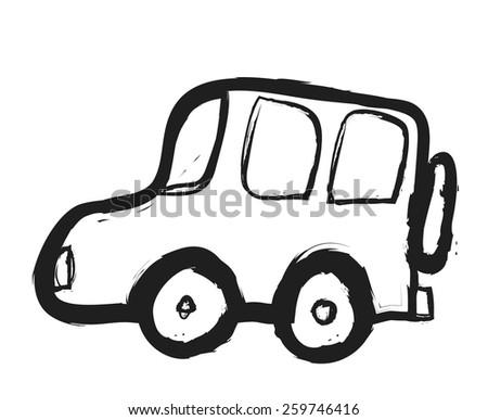 doodle suv car, vector illustration design element - stock vector