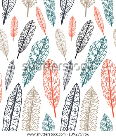 Doodle textured feathers seamless pattern. - stock vector