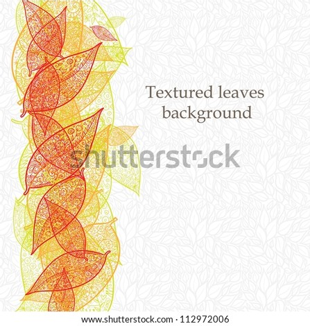 Doodle textured leaves background.