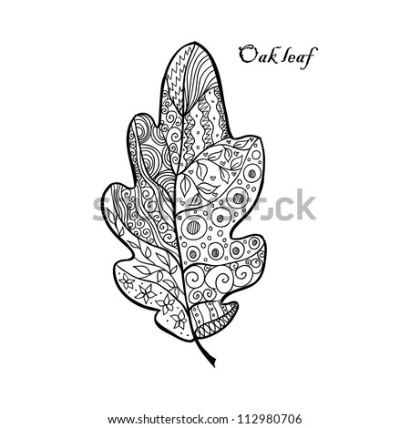 Doodle textured oak leaf. - stock vector