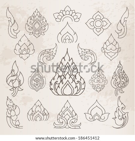Doodle Thai arts pattern and  design elements and page decoration - lots of useful elements to embellish your layout, Vector illustrator - stock vector