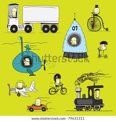 Doodle transport - stock vector