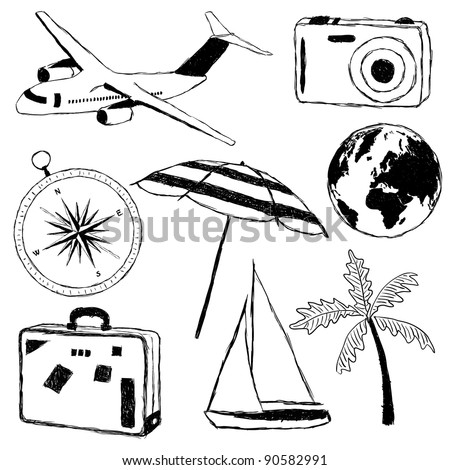 doodle travel pictures - stock vector