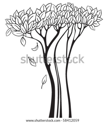 Doodle tree silhouette
