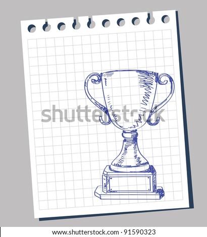 doodle trophy - stock vector